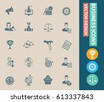 business icon set clean vector | Shutterstock .eps vector #613337843