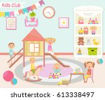 kids club  illustration. flat... | Shutterstock .eps vector #613338497