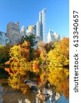 central park with morning... | Shutterstock . vector #613340657