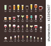 glass types with titles  flat... | Shutterstock .eps vector #613342607