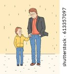 father and son. a boy and a man ... | Shutterstock .eps vector #613357097
