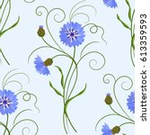 seamless pattern with blue... | Shutterstock .eps vector #613359593