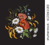 camomiles and roses embroidery. ... | Shutterstock .eps vector #613361183