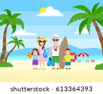 happy family summer vacation on ... | Shutterstock .eps vector #613364393