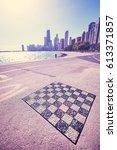 outdoor permanent chess board... | Shutterstock . vector #613371857