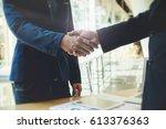 business partnership meeting...   Shutterstock . vector #613376363