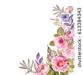 cute card with watercolor roses | Shutterstock . vector #613384343