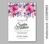 hibiscus wedding invitation... | Shutterstock .eps vector #613389803
