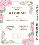 wedding invitation with flowers ... | Shutterstock .eps vector #613390787