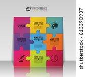 puzzle infographic design... | Shutterstock .eps vector #613390937