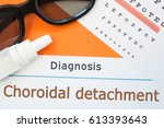 Small photo of Glasses, eye drops and eye test chart is around inscription Diagnosis Choroidal Detachment. Concept photo for causes, diagnosis, treatment and prevention of ophthalmic disease Choroidal Detachment