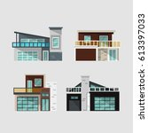 modern houses set | Shutterstock .eps vector #613397033