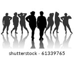 8 figures of thick woman | Shutterstock .eps vector #61339765