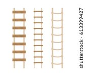 three rope ladders on a white... | Shutterstock .eps vector #613399427