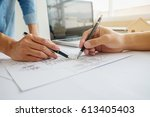 hands of engineer working on... | Shutterstock . vector #613405403