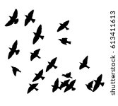 flock of birds silhouette.... | Shutterstock .eps vector #613411613