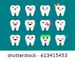 set of cute tooth emoji and... | Shutterstock .eps vector #613415453