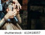 bearded man with long beard ... | Shutterstock . vector #613418057