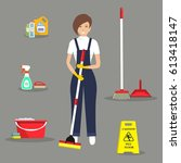 cleaning lady and her cleaning... | Shutterstock .eps vector #613418147