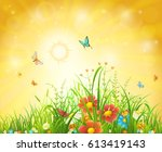 bright summer vector background ... | Shutterstock .eps vector #613419143