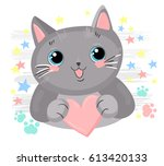 Stock vector drawing cat with heart 613420133