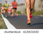 marathon running in the light...   Shutterstock . vector #613421033