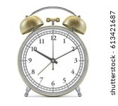 old style alarm clock isolated... | Shutterstock . vector #613421687
