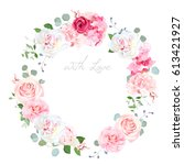 delicate wedding floral vector... | Shutterstock .eps vector #613421927