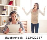 troubled teenage girl in... | Shutterstock . vector #613422167
