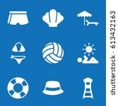 set of 9 beach filled icons... | Shutterstock .eps vector #613432163