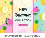 new summer collection colorful... | Shutterstock .eps vector #613434833