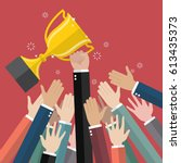 fighting for a winning trophy.... | Shutterstock .eps vector #613435373