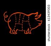 pork cuts barbecue illustration. | Shutterstock .eps vector #613439303