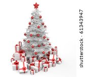 white and red christmas tree decorated with many presents and isolated on white - stock photo
