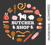 butcher shop headline and... | Shutterstock .eps vector #613449053
