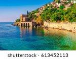 landscape of ancient shipyard... | Shutterstock . vector #613452113