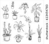 vector set of sketches house... | Shutterstock .eps vector #613454783