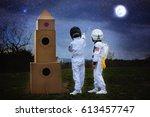 two adorable children  boy...   Shutterstock . vector #613457747