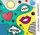 vector background in pop art... | Shutterstock .eps vector #613464797