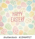 happy easter greeting card.... | Shutterstock .eps vector #613464917