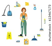 cleaning lady surrounded by... | Shutterstock .eps vector #613467173