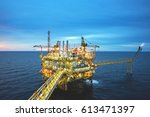 industrial offshore oil and gas ... | Shutterstock . vector #613471397