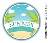poster with the beach and a... | Shutterstock .eps vector #613471517