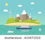 sea landscape wit  mountains | Shutterstock .eps vector #613471523
