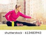 young beautiful blonde hair... | Shutterstock . vector #613483943