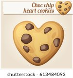 choc chip heart cookies... | Shutterstock .eps vector #613484093