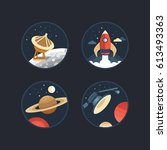 set of vector icons of space.... | Shutterstock .eps vector #613493363