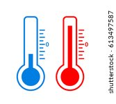 cold and hot temperature vector ... | Shutterstock .eps vector #613497587