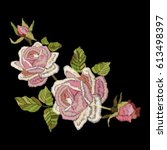 roses embroidery on black... | Shutterstock .eps vector #613498397