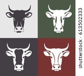 cow head labels set. cow head... | Shutterstock .eps vector #613502333